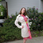 Pink Floral Dress and Trench Coat